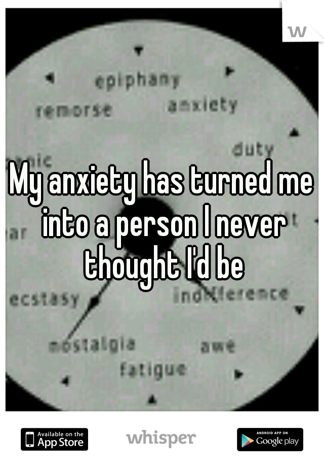 My anxiety has turned me into a person I never thought I'd be