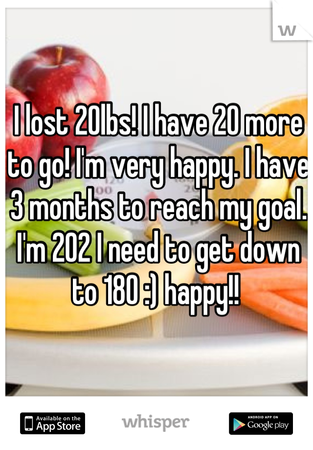I lost 20lbs! I have 20 more to go! I'm very happy. I have 3 months to reach my goal. I'm 202 I need to get down to 180 :) happy!!