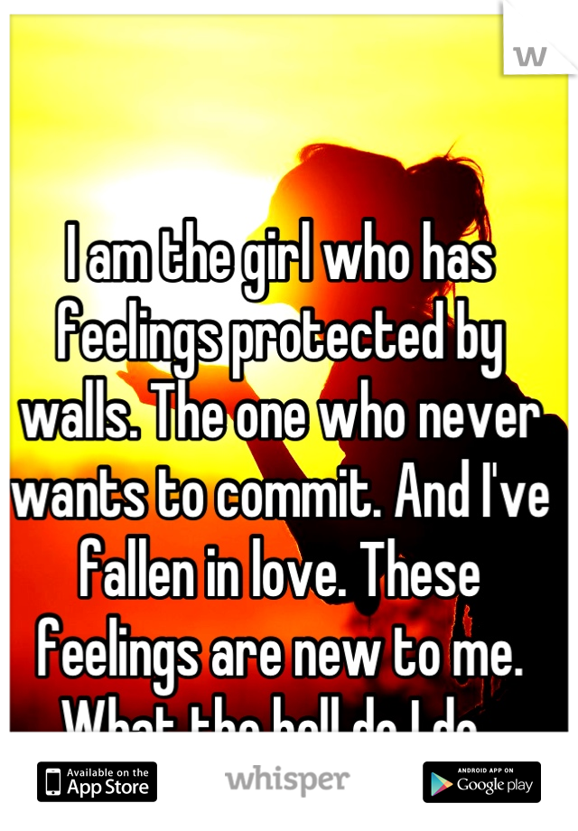 I am the girl who has feelings protected by walls. The one who never wants to commit. And I've fallen in love. These feelings are new to me. What the hell do I do.