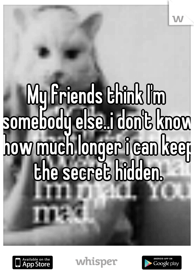 My friends think I'm somebody else..i don't know how much longer i can keep the secret hidden.