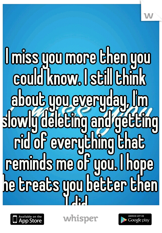 I miss you more then you could know. I still think about you everyday, I'm slowly deleting and getting rid of everything that reminds me of you. I hope he treats you better then I did.