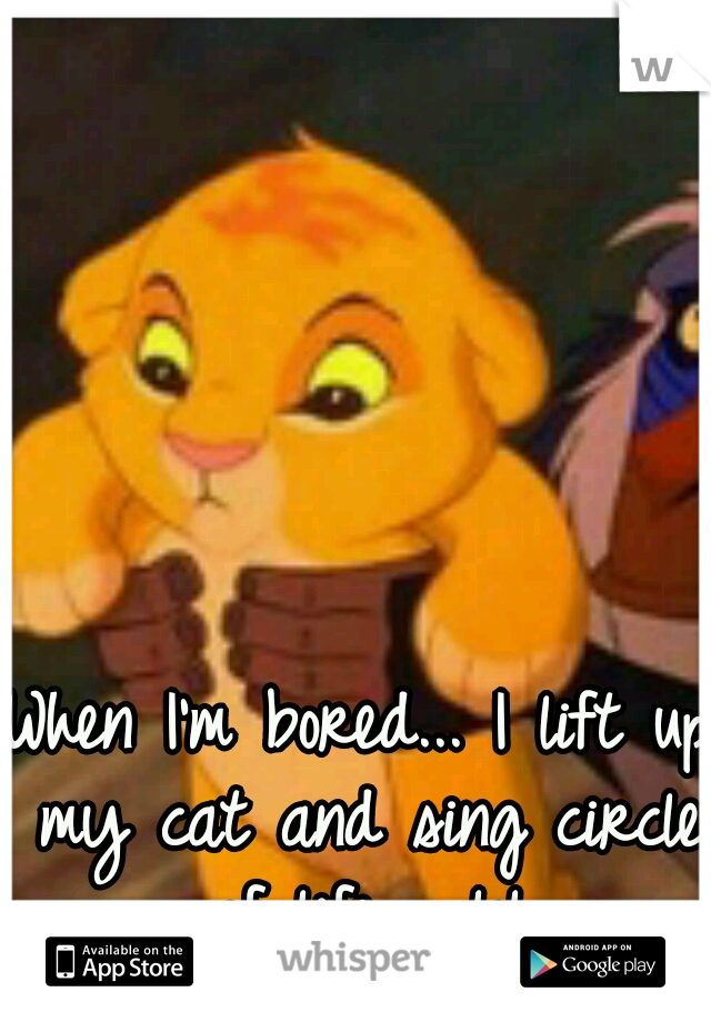 When I'm bored... I lift up my cat and sing circle of life.... lol