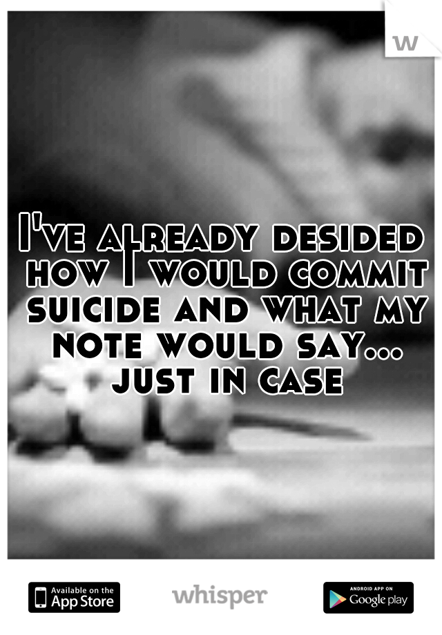 I've already desided how I would commit suicide and what my note would say... just in case