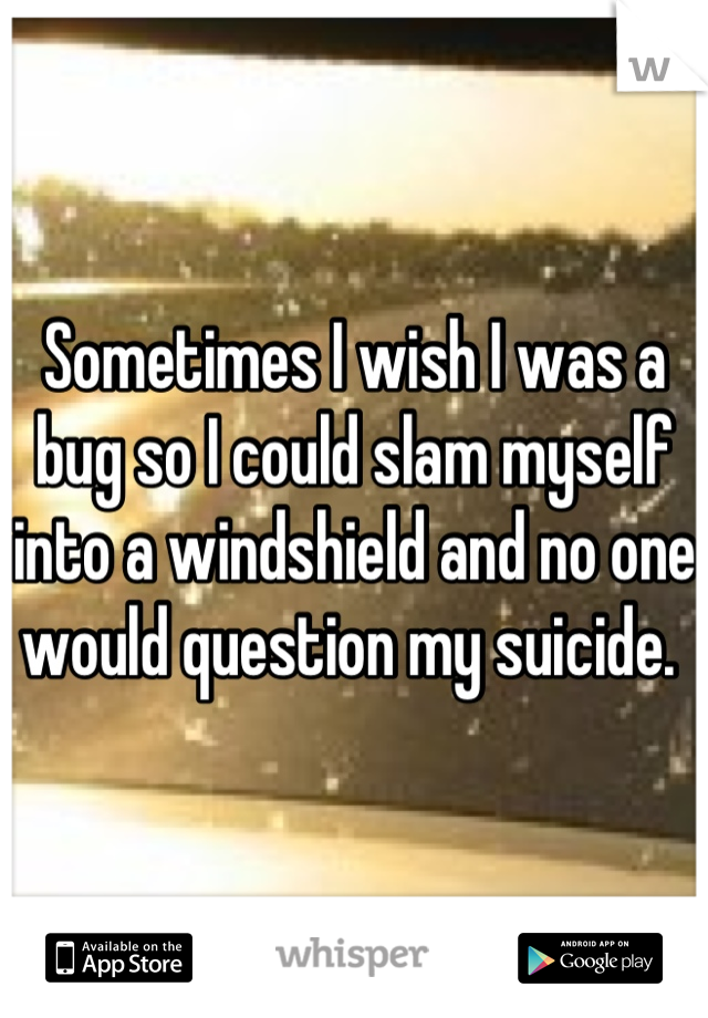 Sometimes I wish I was a bug so I could slam myself into a windshield and no one would question my suicide.
