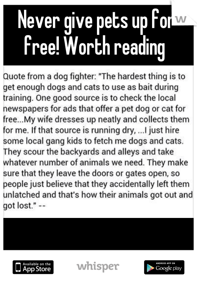 Never give pets up for free! Worth reading