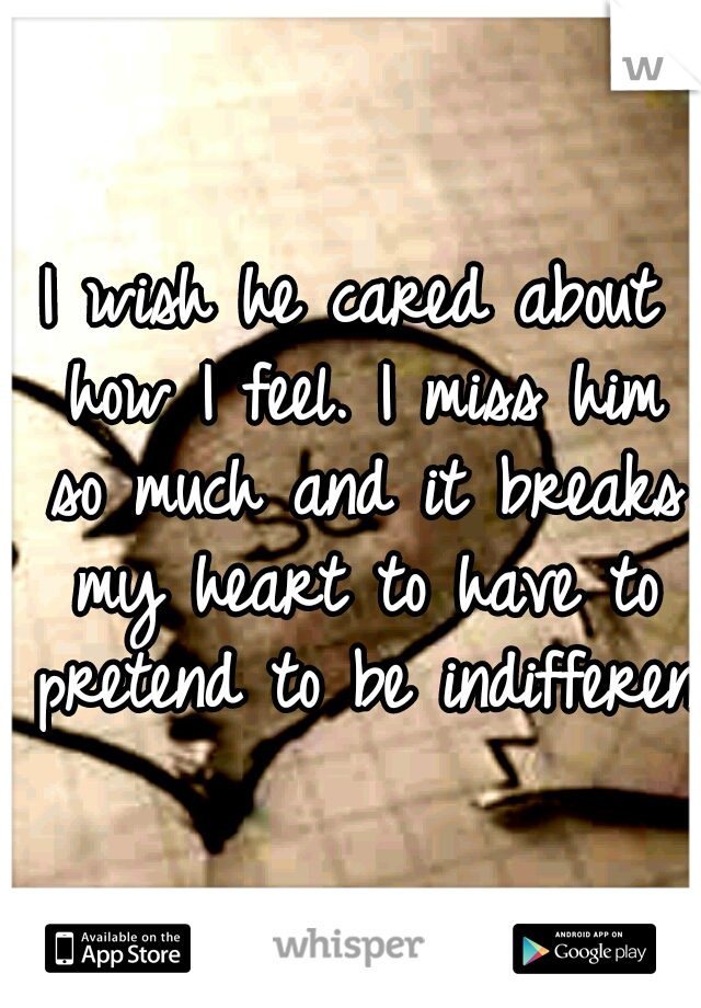 I wish he cared about how I feel. I miss him so much and it breaks my heart to have to pretend to be indifferent