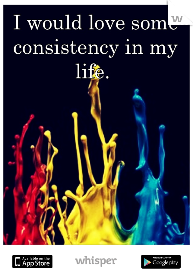 I would love some consistency in my life.