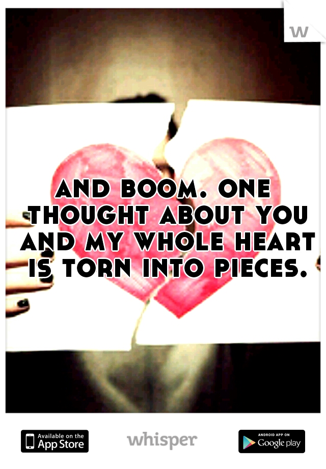 and boom. one thought about you and my whole heart is torn into pieces.