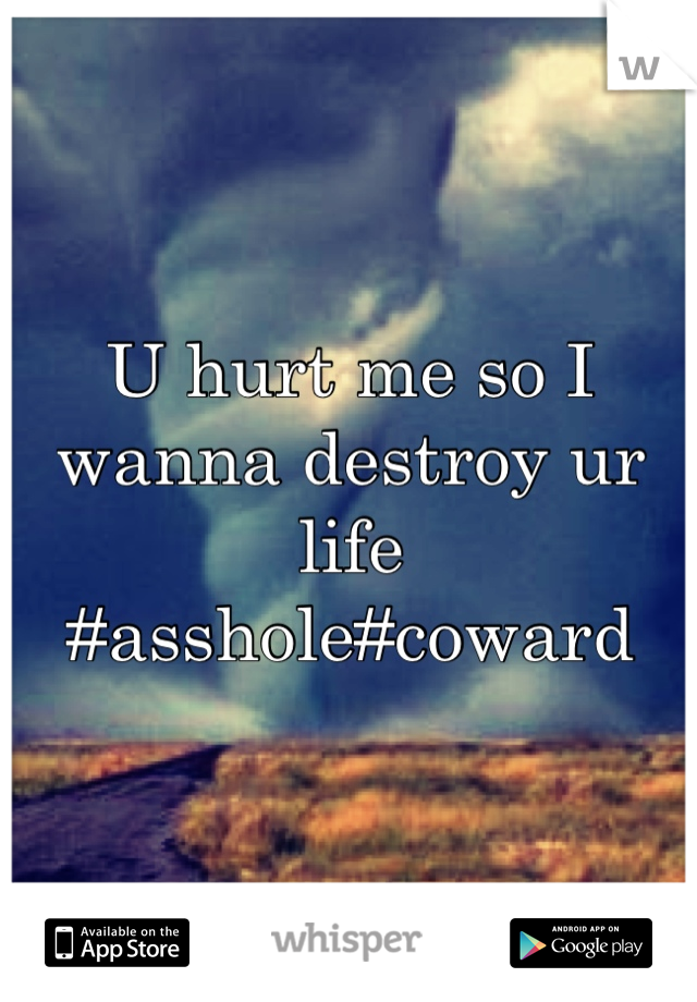 U hurt me so I wanna destroy ur life #asshole#coward