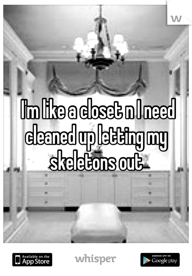 I'm like a closet n I need cleaned up letting my skeletons out