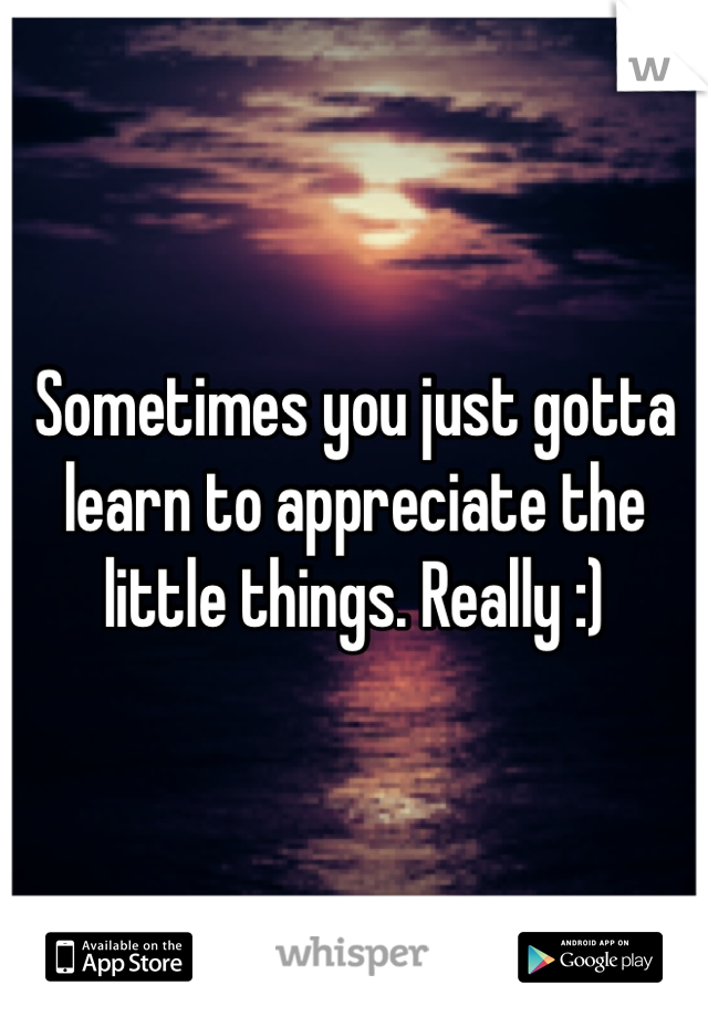 Sometimes you just gotta learn to appreciate the little things. Really :)
