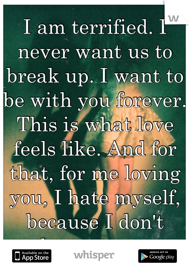 I am terrified. I never want us to break up. I want to be with you forever. This is what love feels like. And for that, for me loving you, I hate myself, because I don't deserve you.