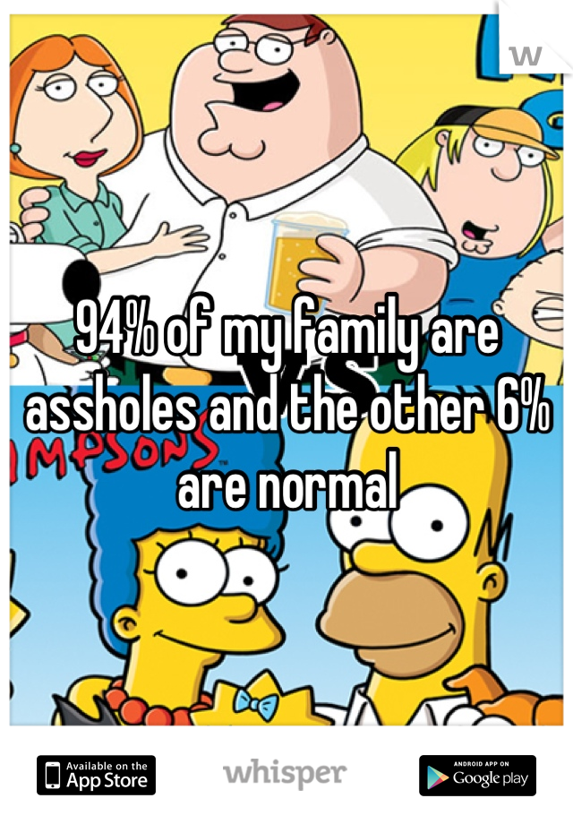 94% of my family are assholes and the other 6% are normal