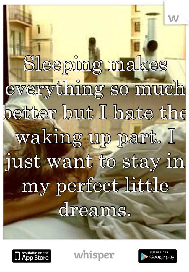 Sleeping makes everything so much better but I hate the waking up part. I just want to stay in my perfect little dreams.