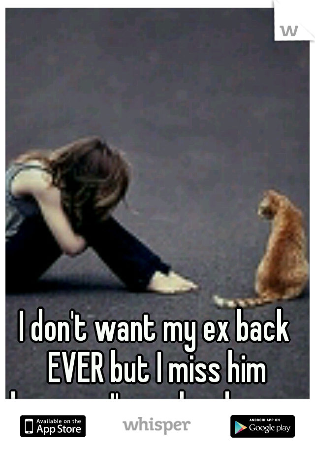 I don't want my ex back EVER but I miss him because I'm so lonely now.