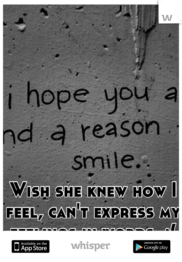Wish she knew how I feel, can't express my feelings in words. :(