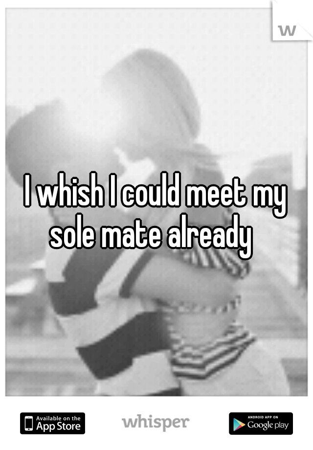 I whish I could meet my sole mate already