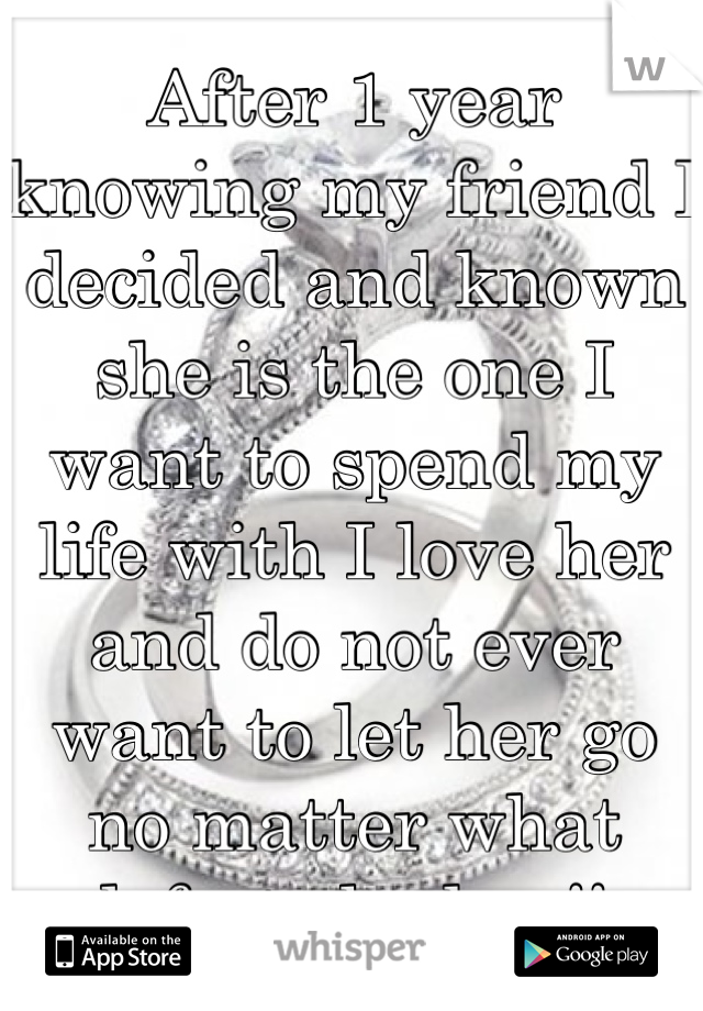 After 1 year knowing my friend I decided and known she is the one I want to spend my life with I love her and do not ever want to let her go no matter what defect she has!!