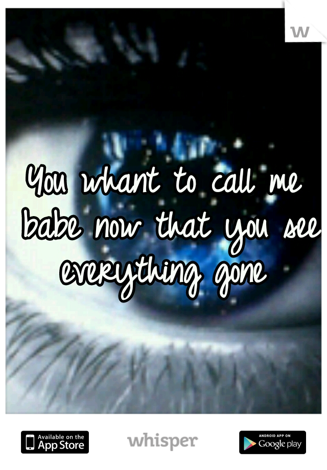 You whant to call me babe now that you see everything gone