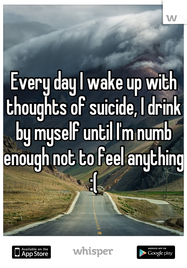 Every day I wake up with thoughts of suicide, I drink by myself until I'm numb enough not to feel anything :(