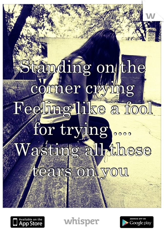 Standing on the corner crying  Feeling like a fool for trying .... Wasting all these tears on you