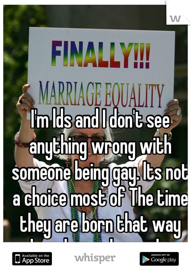 I'm lds and I don't see anything wrong with someone being gay. Its not a choice most of The time they are born that way and you love who you love.