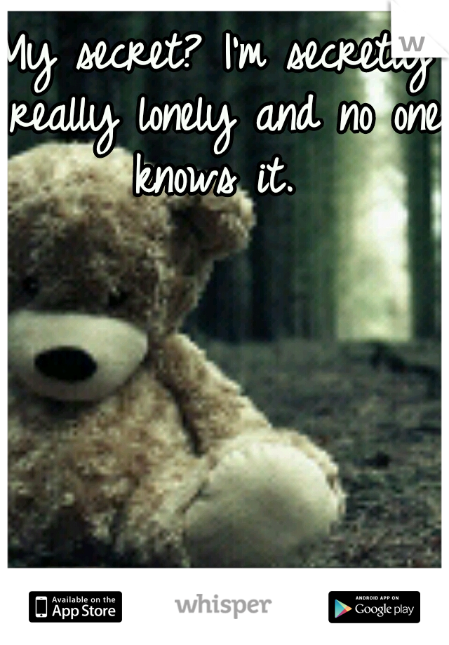 My secret? I'm secretly really lonely and no one knows it.