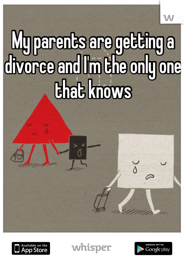 My parents are getting a divorce and I'm the only one that knows