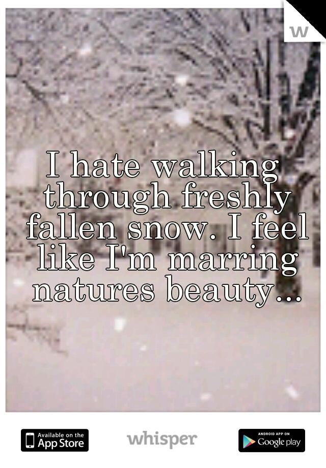 I hate walking through freshly fallen snow. I feel like I'm marring natures beauty...