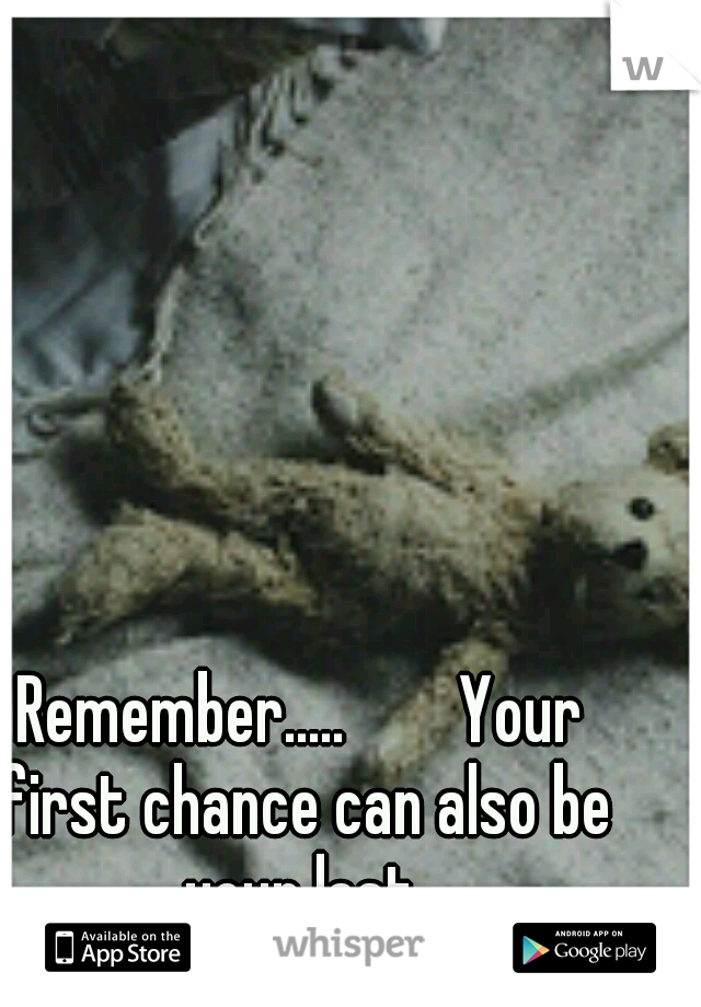 Remember.....        Your first chance can also be your last.