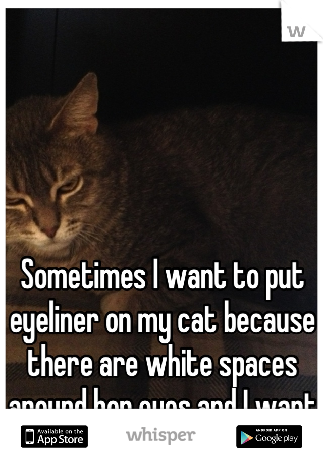 Sometimes I want to put eyeliner on my cat because there are white spaces around her eyes and I want to see how she looks.