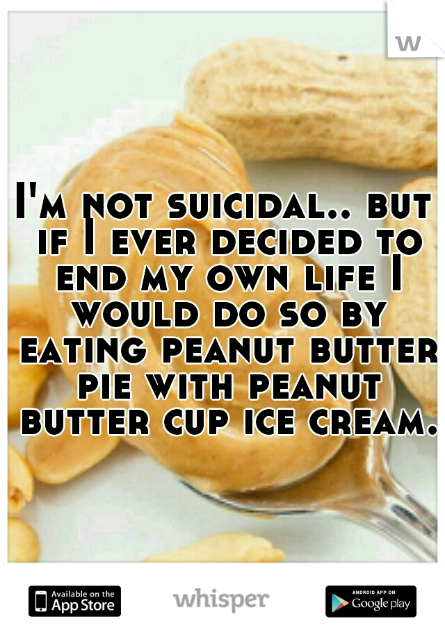 I'm not suicidal.. but if I ever decided to end my own life I would do so by eating peanut butter pie with peanut butter cup ice cream.