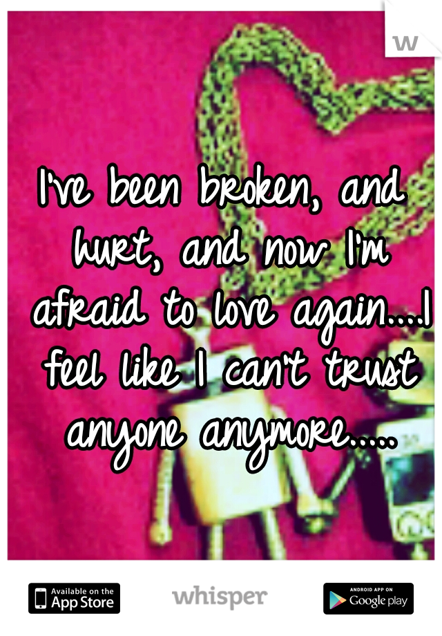 I've been broken, and hurt, and now I'm afraid to love again....I feel like I can't trust anyone anymore.....