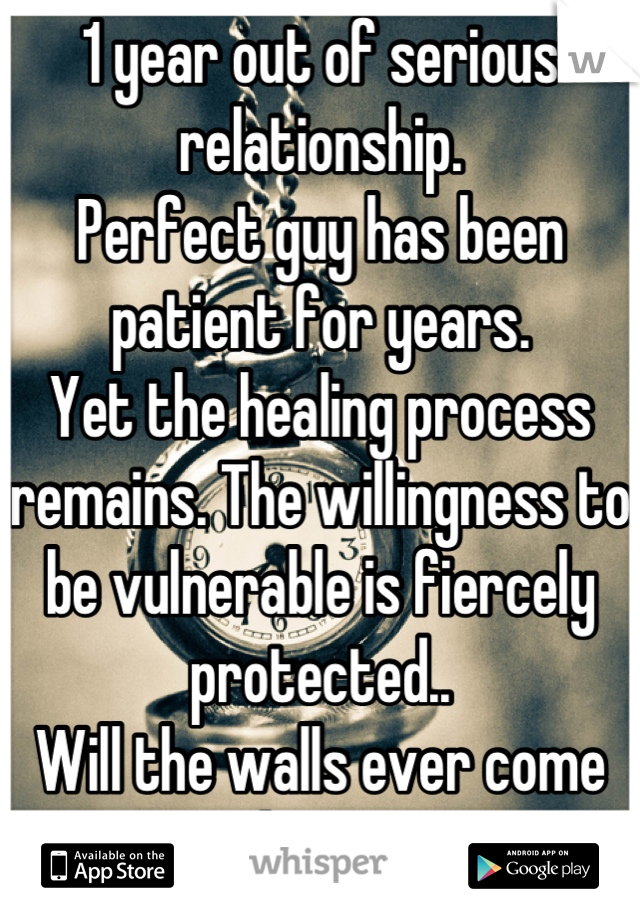1 year out of serious relationship. Perfect guy has been patient for years.  Yet the healing process remains. The willingness to be vulnerable is fiercely protected.. Will the walls ever come down?