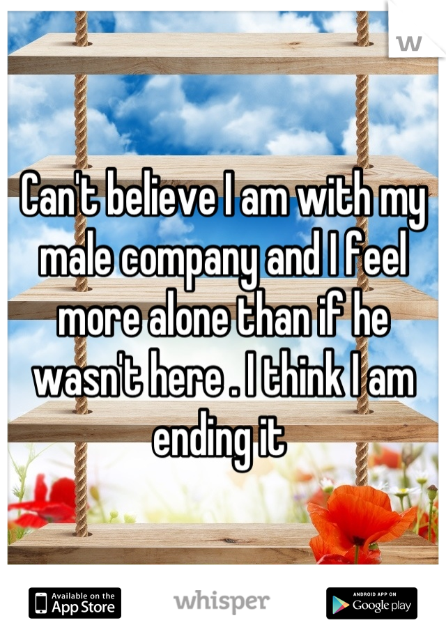 Can't believe I am with my male company and I feel more alone than if he wasn't here . I think I am ending it