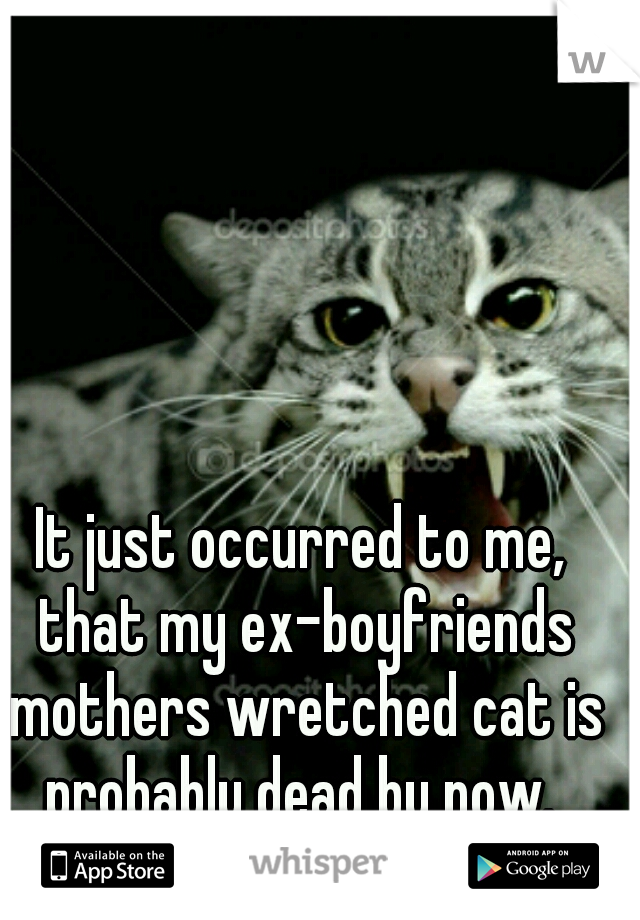 It just occurred to me, that my ex-boyfriends mothers wretched cat is probably dead by now.