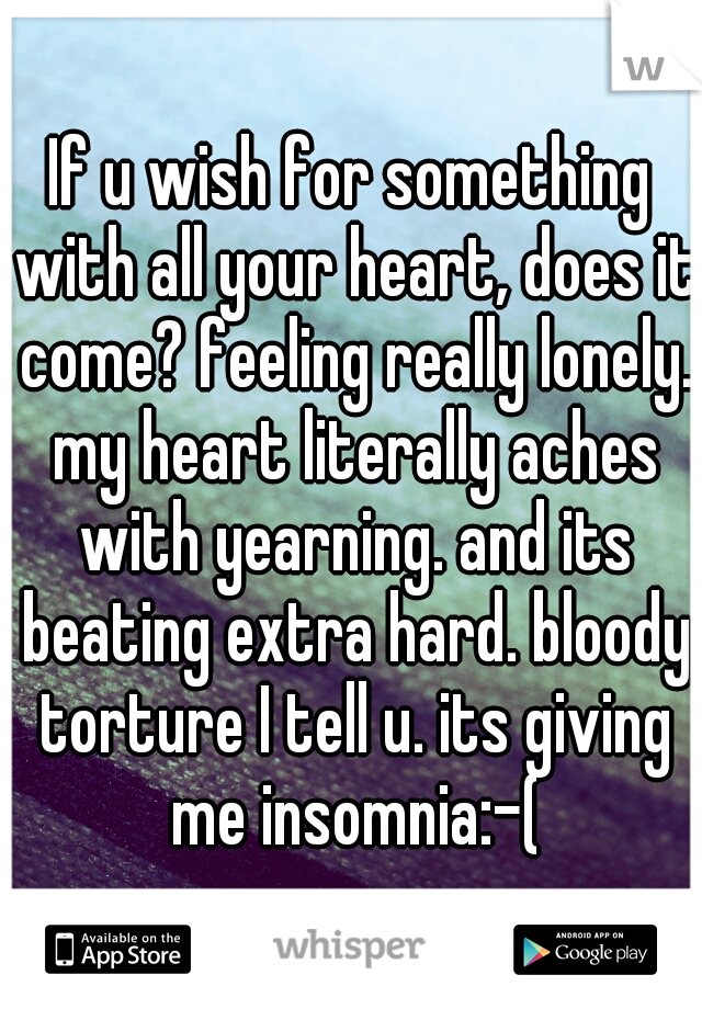 If u wish for something with all your heart, does it come? feeling really lonely. my heart literally aches with yearning. and its beating extra hard. bloody torture I tell u. its giving me insomnia:-(