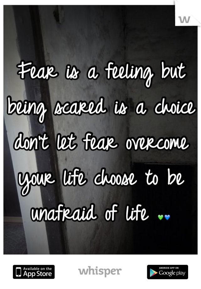 Fear is a feeling but being scared is a choice don't let fear overcome your life choose to be unafraid of life 💚💙