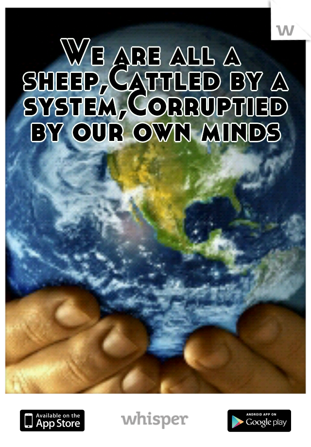 We are all a sheep,Cattled by a system,Corruptied by our own minds