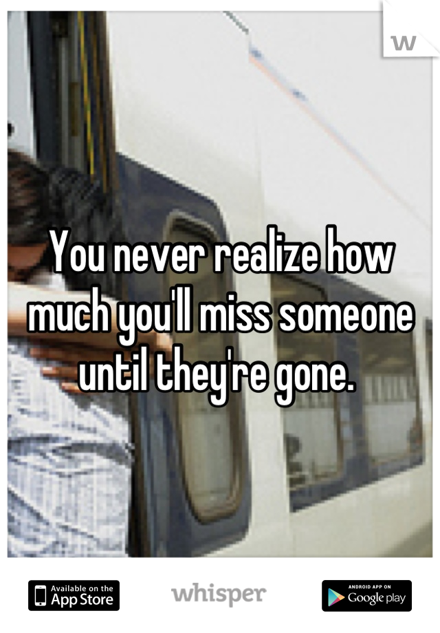 You never realize how much you'll miss someone until they're gone.