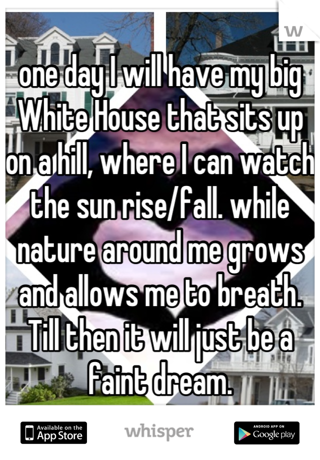 one day I will have my big White House that sits up on a hill, where I can watch the sun rise/fall. while nature around me grows and allows me to breath.  Till then it will just be a faint dream.