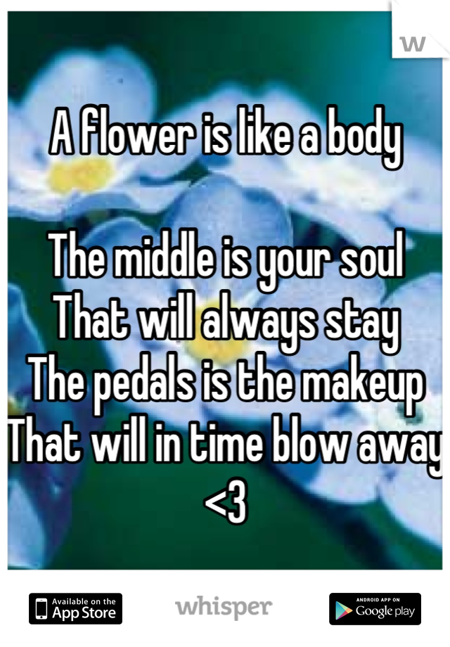 A flower is like a body  The middle is your soul  That will always stay The pedals is the makeup That will in time blow away <3