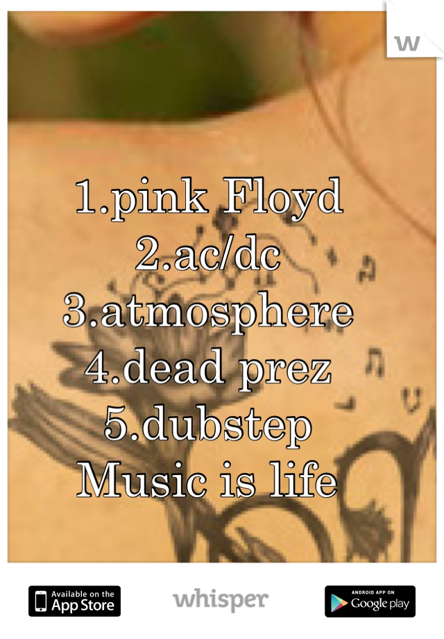 1.pink Floyd 2.ac/dc 3.atmosphere 4.dead prez 5.dubstep Music is life