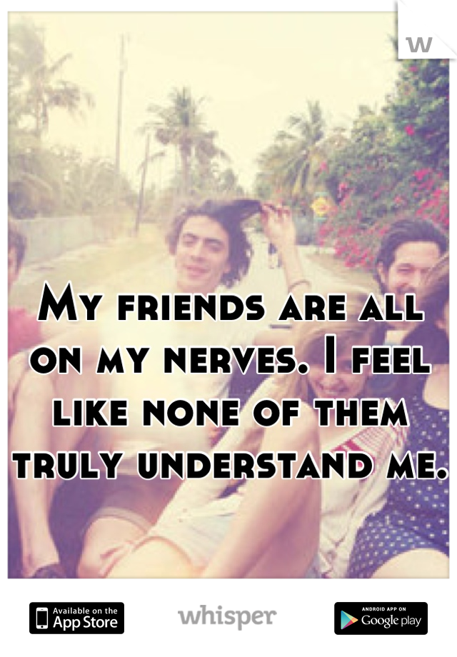 My friends are all on my nerves. I feel like none of them truly understand me.
