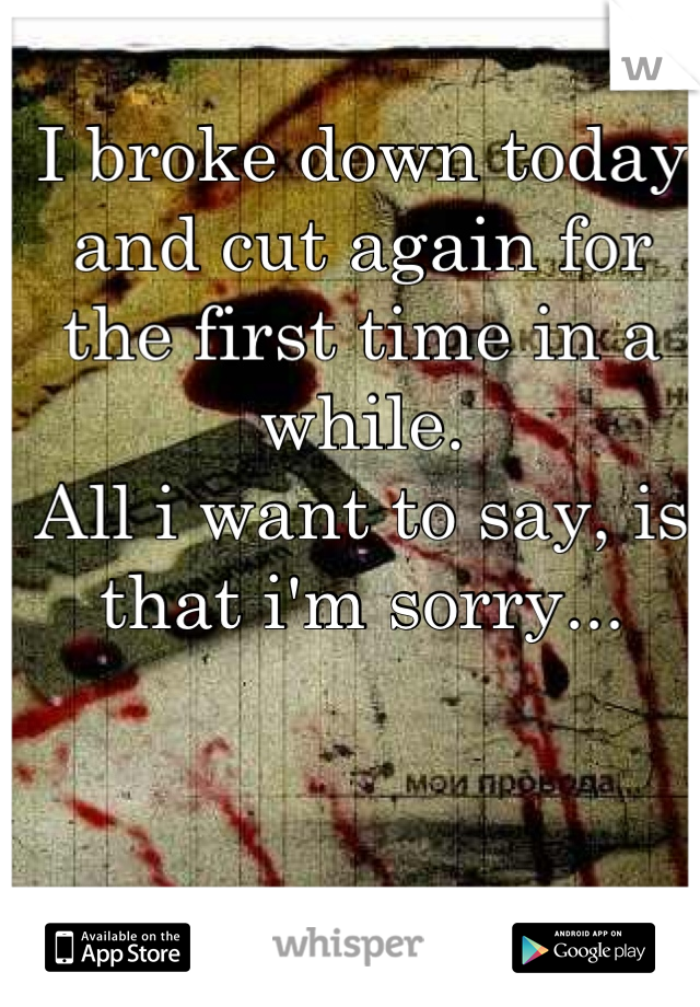 I broke down today and cut again for the first time in a while. All i want to say, is that i'm sorry...