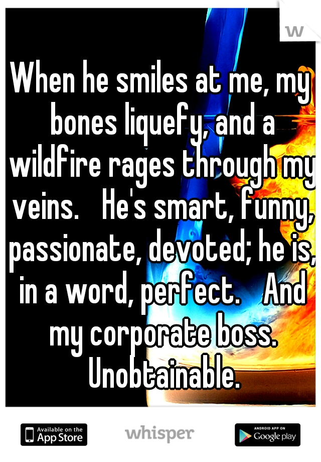 When he smiles at me, my bones liquefy, and a wildfire rages through my veins.  He's smart, funny, passionate, devoted; he is, in a word, perfect.  And my corporate boss.  Unobtainable.