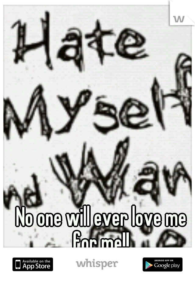 No one will ever love me for me!!
