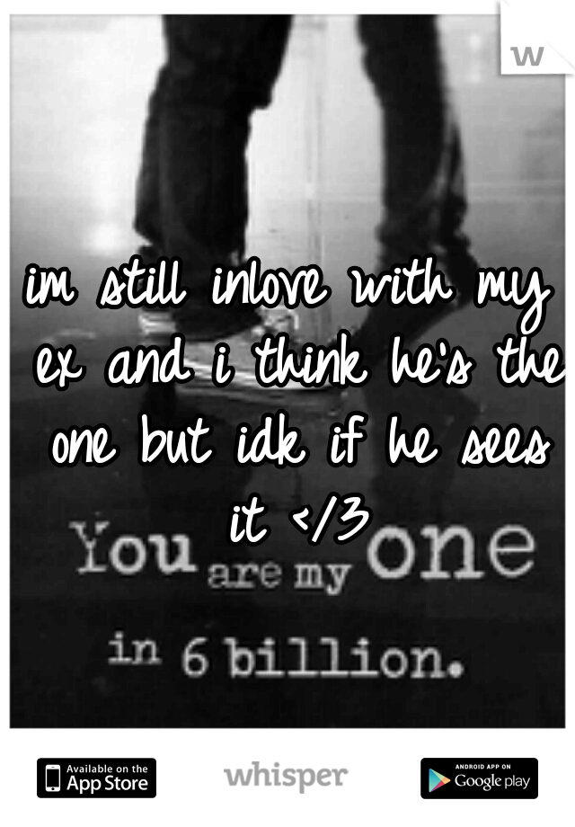 im still inlove with my ex and i think he's the one but idk if he sees it </3