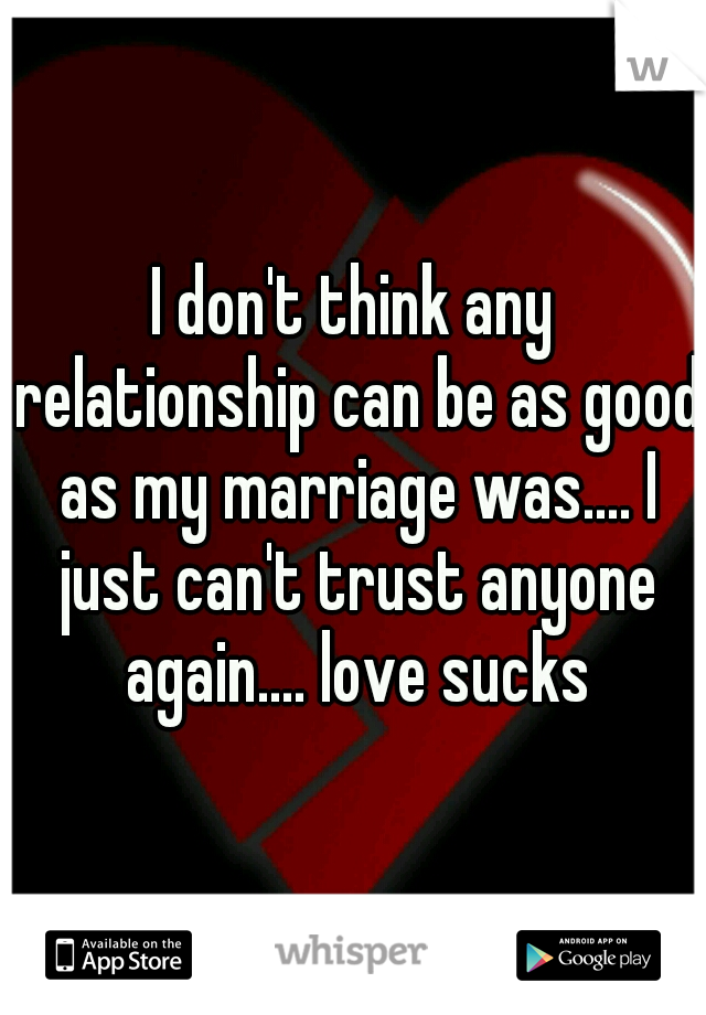 I don't think any relationship can be as good as my marriage was.... I just can't trust anyone again.... love sucks