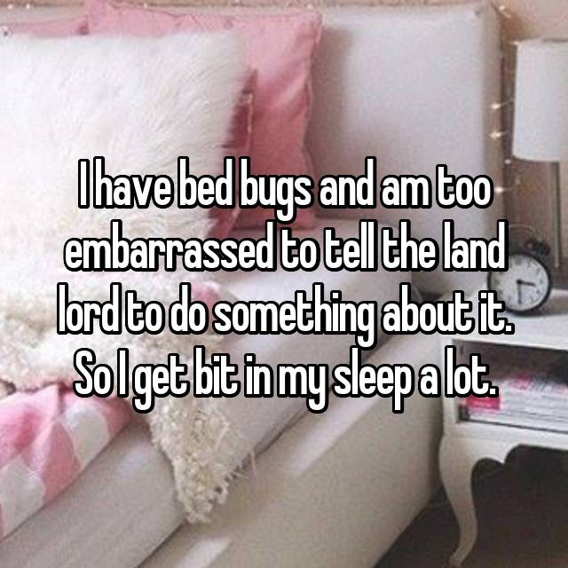 I have bed bugs and am too embarrassed to tell the land lord to do something about it. So I get bit in my sleep a lot.